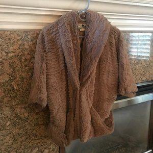 Fluffy, soft, brown Jolt jacket size large.
